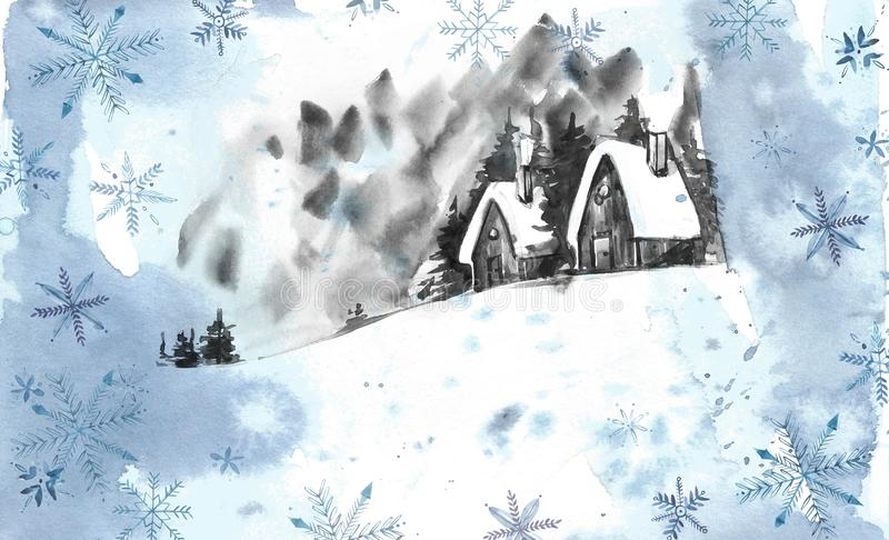 Winter landscape background. Watercolor painting, picture - forest, nature, tree. It can be used as logo, card royalty free illustration