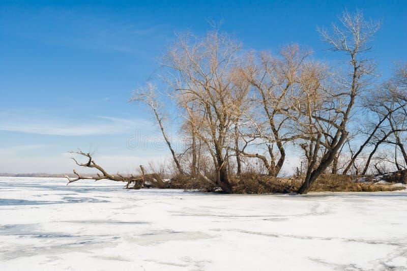 Winter landscape on a big Ukrainian river Dnepr stock images