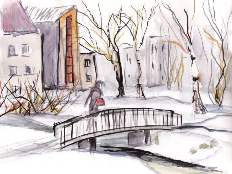 Winter landscape, bridge in the park. Winter landscape, little bridge in the park with female figure vector illustration