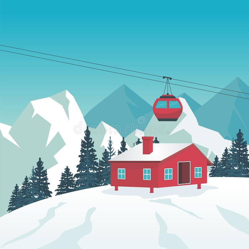 Winter Landscape with Cable-car, ski station and scenery design. Snowy hill and mountain with ski station, Cable-car on rope way and oak tree, suitable for vector illustration