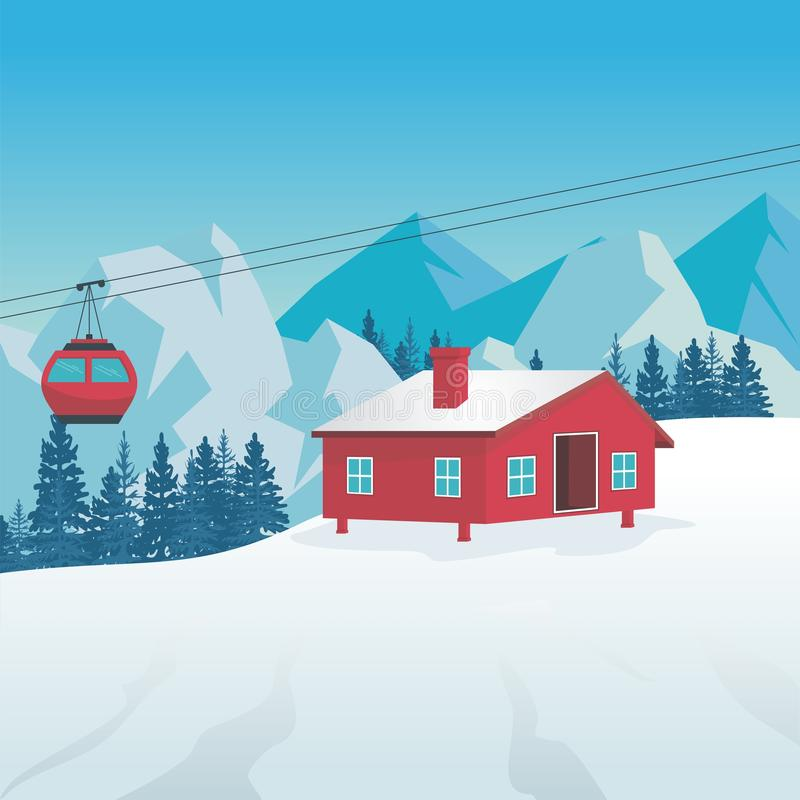 Winter Landscape with Cable-car, ski station and scenery design vector illustration