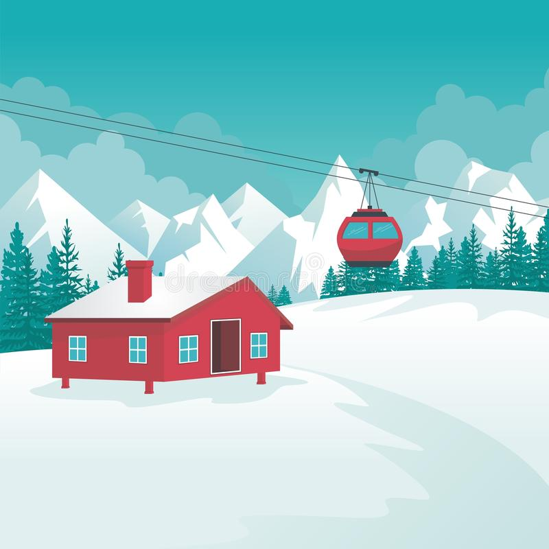 Winter Landscape with Cable-car, ski station and scenery design stock illustration