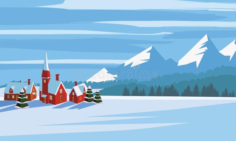 Winter landscape, cartoon minimal style. Horizon, panorama, snow-covered trees, village, mountains, ate, pine. Vector vector illustration