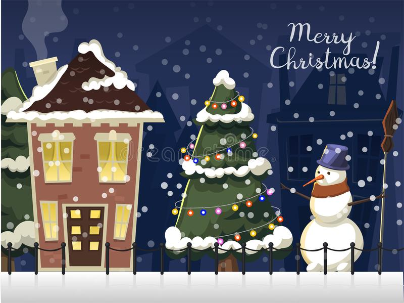 Winter landscape with christmas houses firtree mountain frozen nature wallpaper beautiful natural vector illustration. Winter landscape with christmas houses royalty free illustration