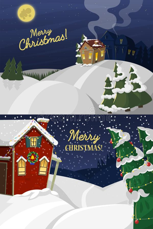 Download Winter Landscape With Christmas Houses Fir Tree Mountain Frozen Nature Wallpaper Beautiful Natural Vector Illustration
