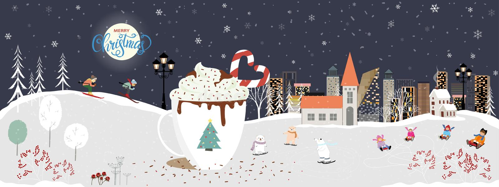 Winter landscape with Christmas and new year celebrated in the city,Cute winter wonderland in the town with with big mug of hot. Chocolate and candy cane, kids vector illustration