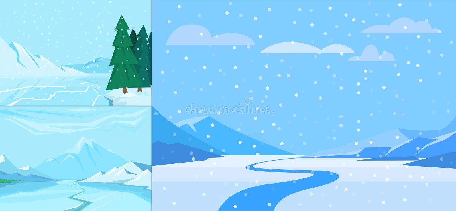 Download Winter Landscape With Christmas Tree Mountain Frozen Nature Wallpaper Beautiful Natural Vector Illustration Stock