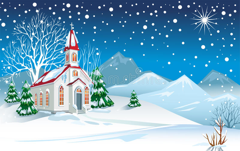 Download Winter Landscape With Church Stock Vector - Image: 17160397