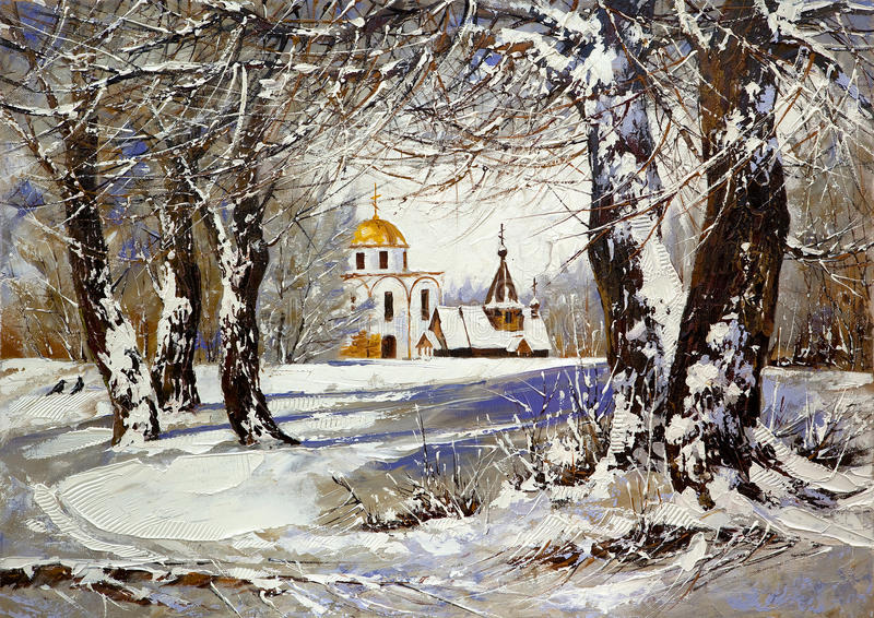 Winter landscape with church. In wood stock illustration