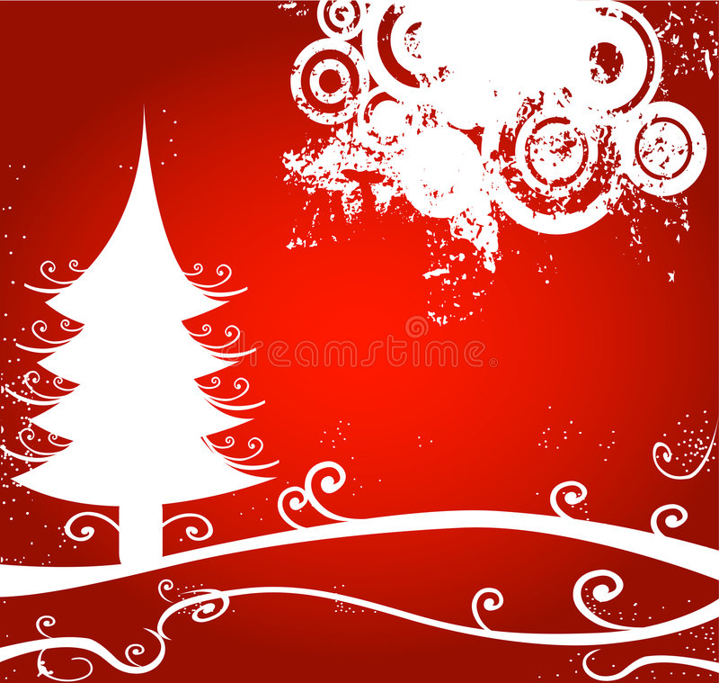 Winter landscape with circles vector illustration