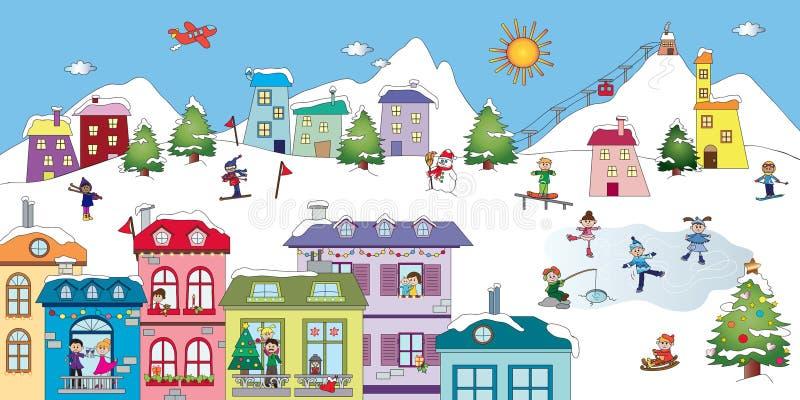 Winter landscape vector illustration