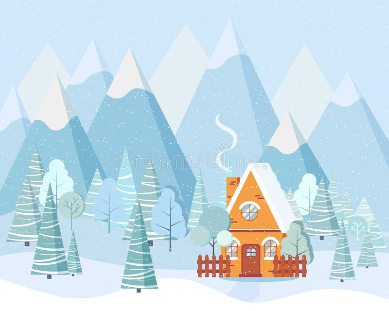 Winter landscape with country house, winter trees, spruces, mountains, snow in cartoon flat style vector illustration