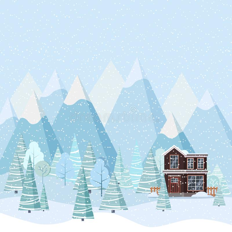 Winter landscape with country house, winter trees, spruces, mountains, snow in cartoon flat style royalty free illustration