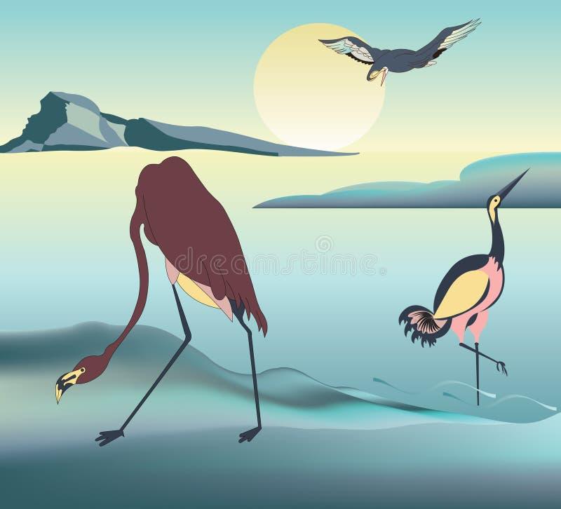 Winter landscape with cranes at sunrise vector illustration