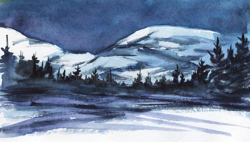 Winter landscape. Distant snowy mountains. Dark silhouette of spruce forest, snow-covered valley or frozen lake stock illustration