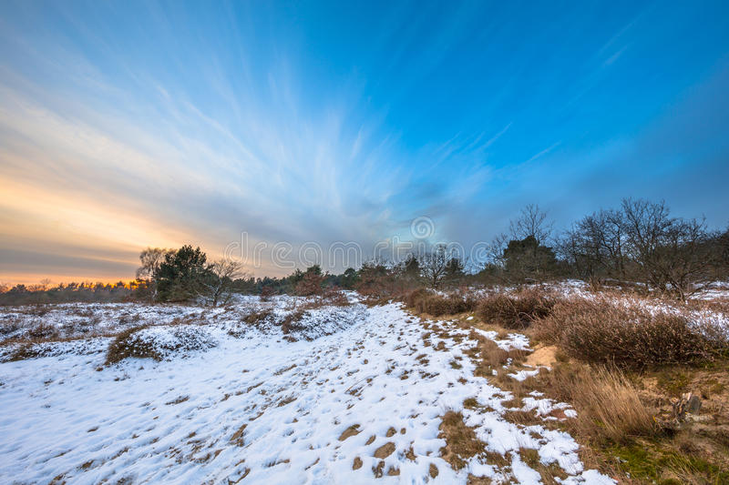 Winter landscape in Drenthe with thin layer of snow stock photo