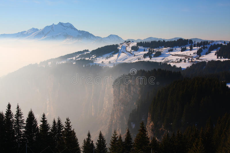 Winter landscape in the European Alps stock image