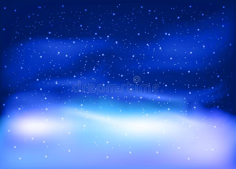 Winter landscape with Falling snow. Christmas and New Year Background. Vector illustration. vector illustration