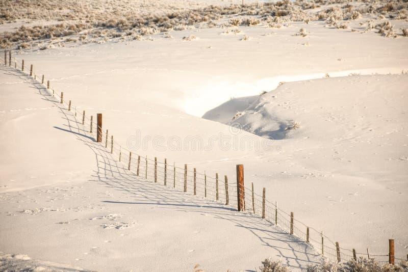 Fenceline In Snow stock photography