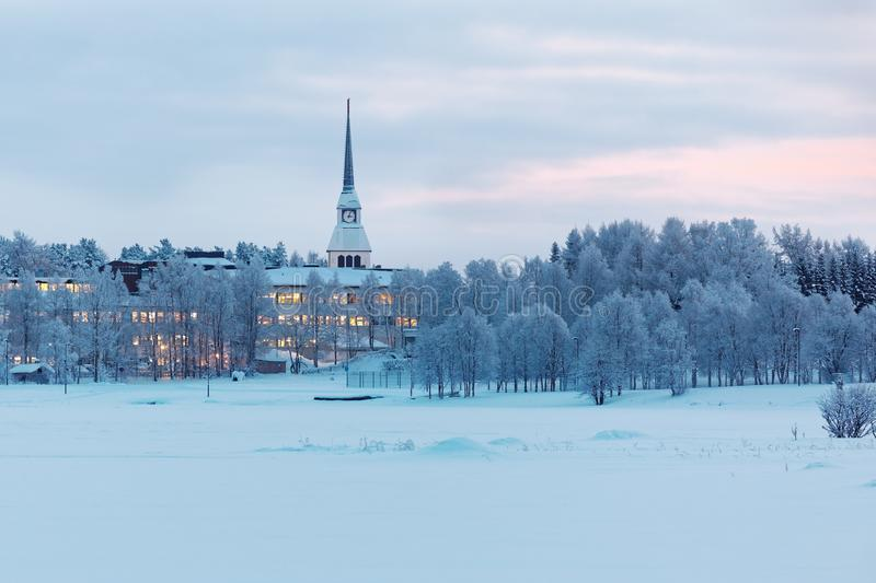 Winter landscape in Finland stock image