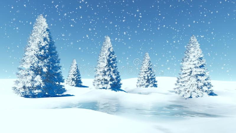 Winter landscape with firs at snowfall day vector illustration