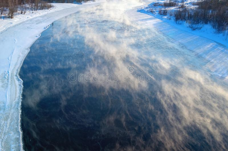 Fog over the river royalty free stock photography