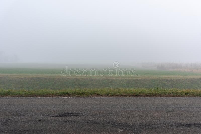 Winter landscape with fog, Po Valley, Italy. Winter country landscape with fog, Po Valley, Italy royalty free stock photos