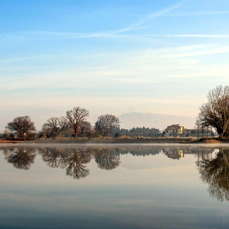 Winter landscape, foggy morning over frozen lake with trees reflecting in mirror water royalty free stock images