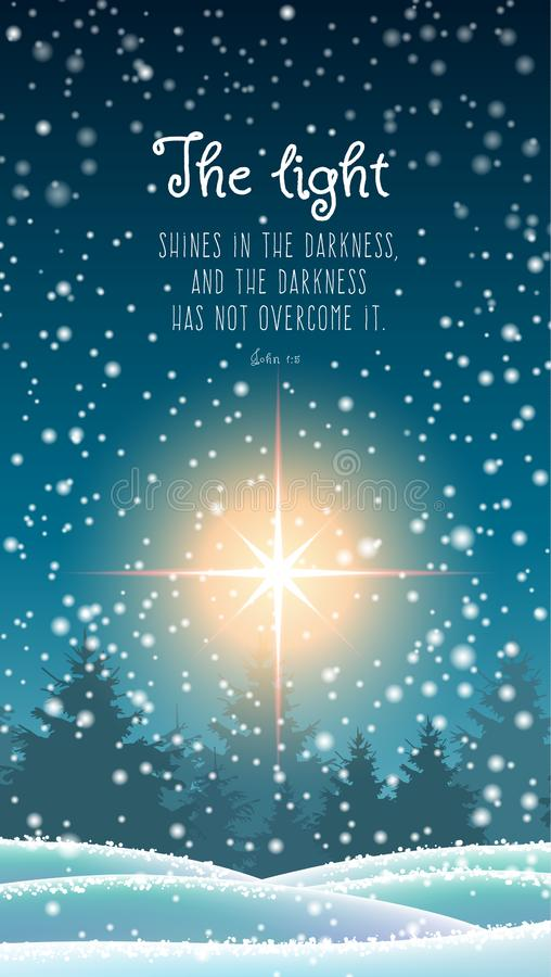 Christmas theme, winter forest with big star. Winter landscape, forest in dark, snowfall and big shinny star with biblical quote, Christmas motive, mobile phone stock illustration
