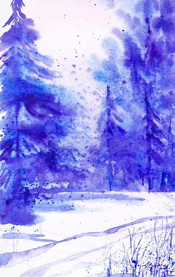 Winter landscape of forest and snowy field. Hand drawn watercolor illustration royalty free illustration