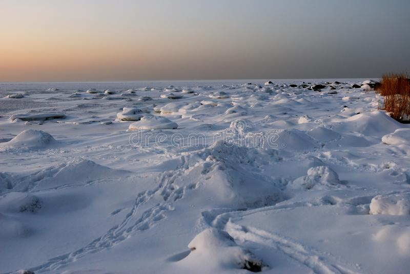 Winter landscape of frozen Baltic-Sea. Estonia royalty free stock photo