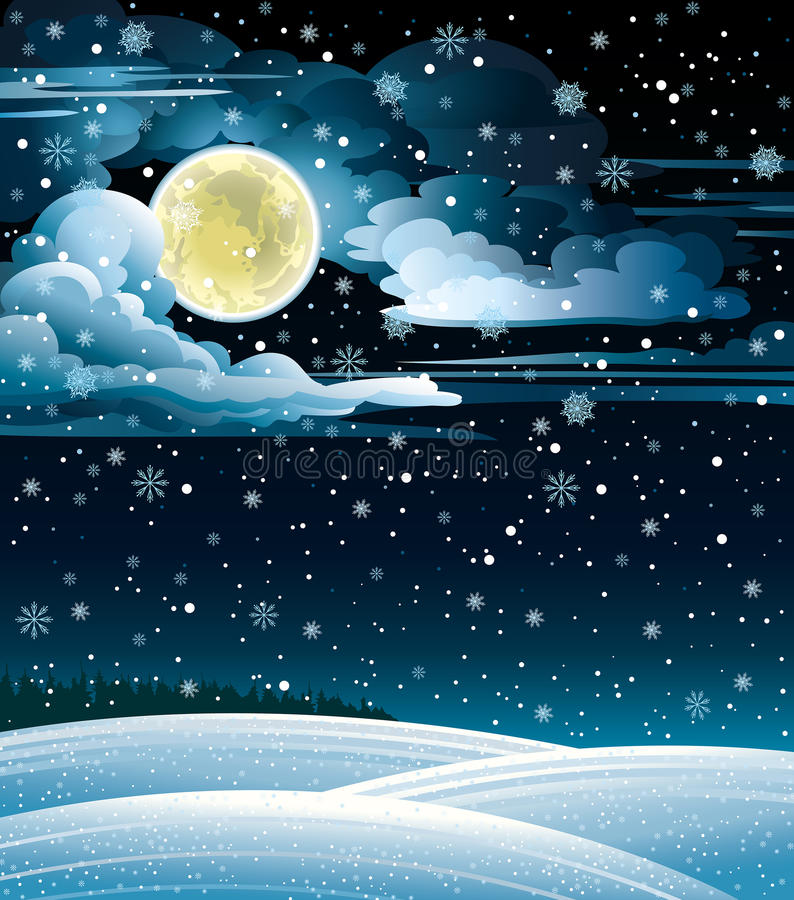 Winter Landscape And Full Moon. Royalty Free Stock Images