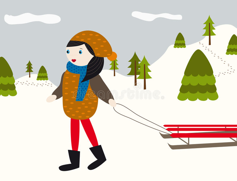 Winter landscape with girl and sled royalty free illustration