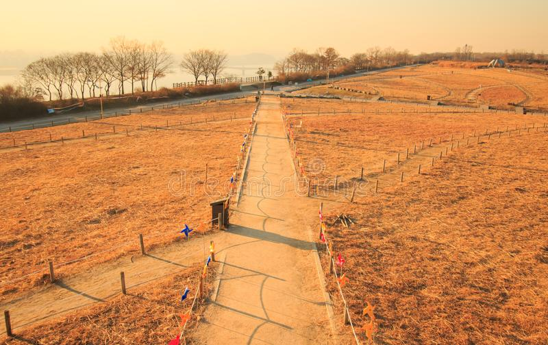 Winter landscape of Haneul Park. Another name is Skypark, in Seoul, Korea stock photography