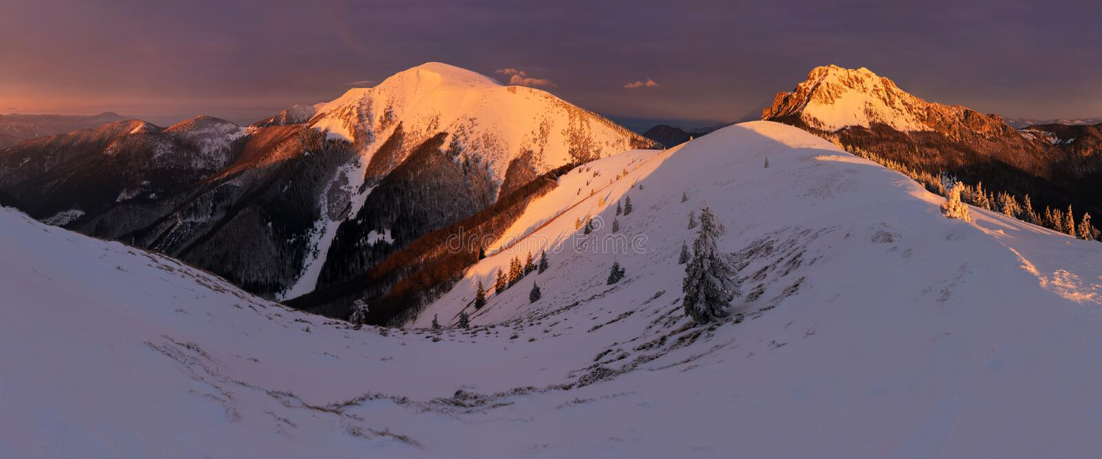 Winter landscape of High Tatra Mountains on Small cold valley after fresh snowfall. High Tatras, Slovakia Windy and cold weather. royalty free stock photos