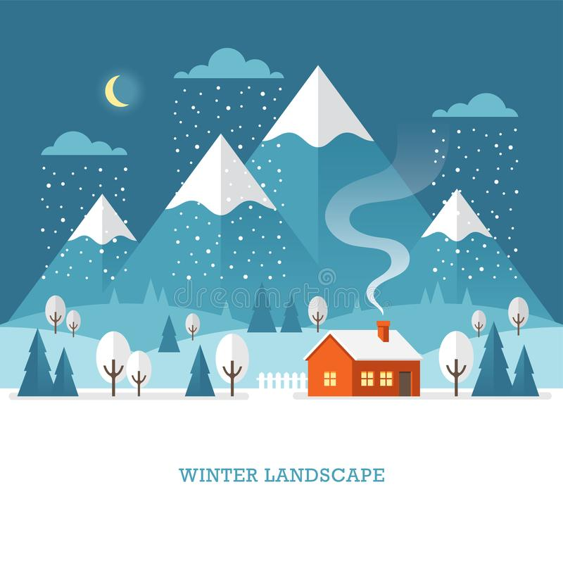 Winter landscape with house and mountains at night. vector illustration