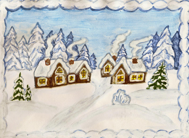Winter landscape with houses. Christmas postcard, hand made, gouche. Winter landscape with houses vector illustration