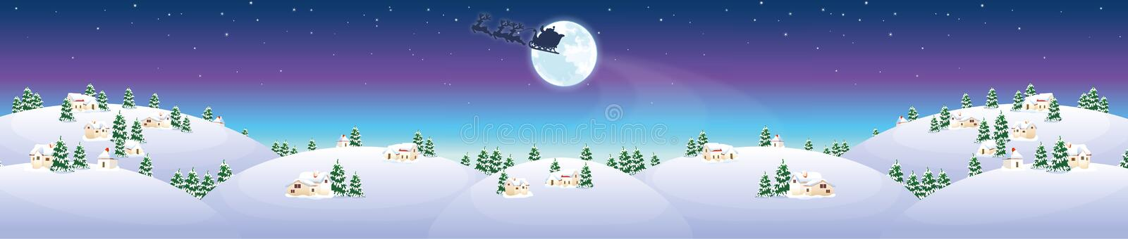 Winter landscape with houses and Santa Claus royalty free stock image