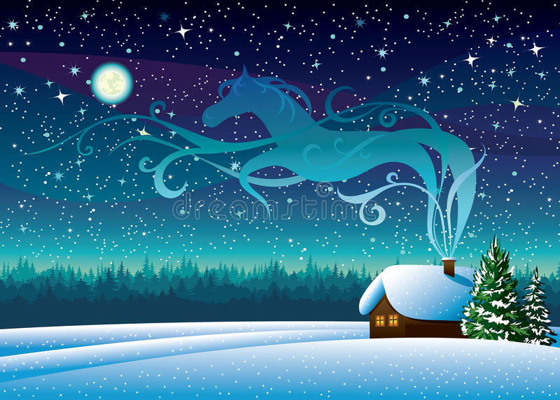 Winter landscape with hut and magic horse silhouette. Winter landscape with snow hut and magic horse silhouette on a starry night background stock illustration