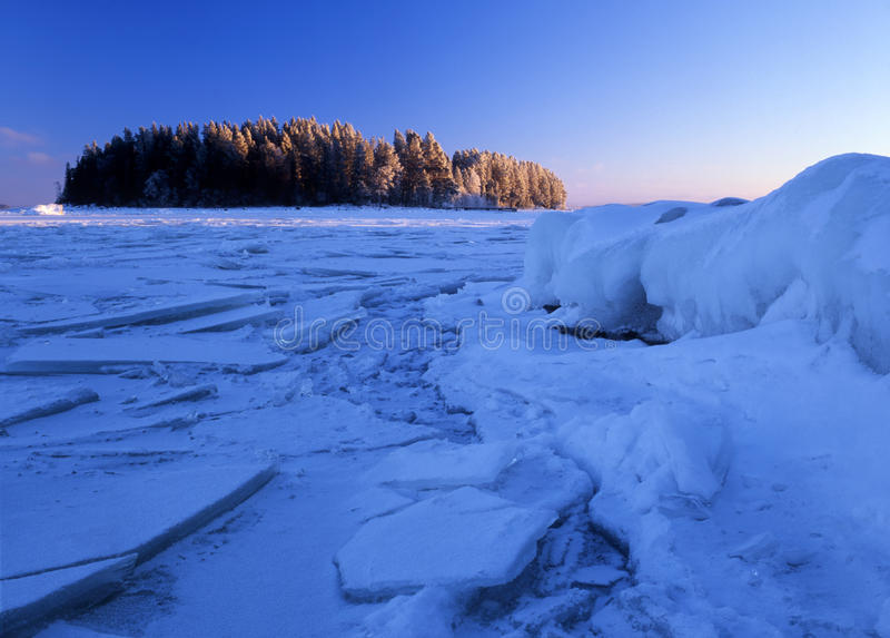 Winter landscape of ice floating stock photos
