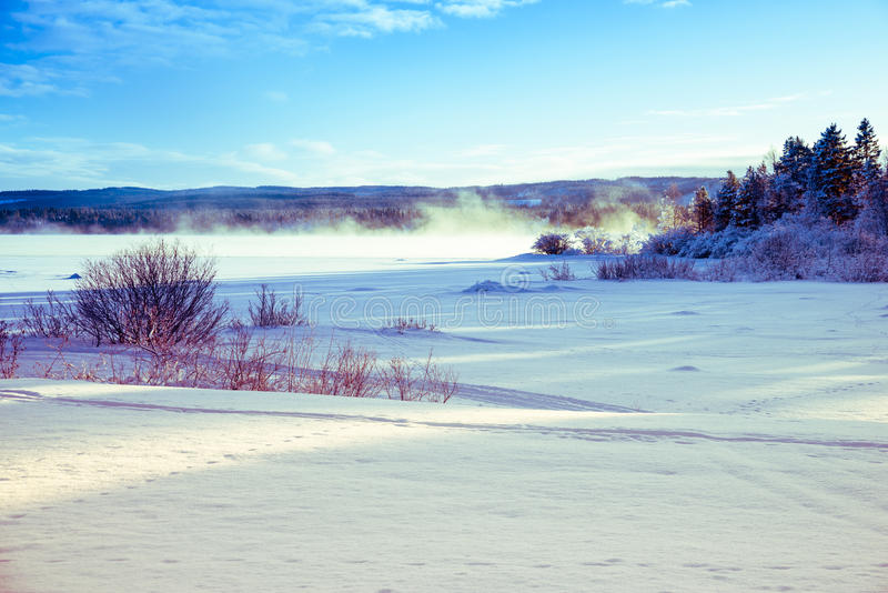 Winter landscape of icy and snowy lake with fog royalty free stock photography