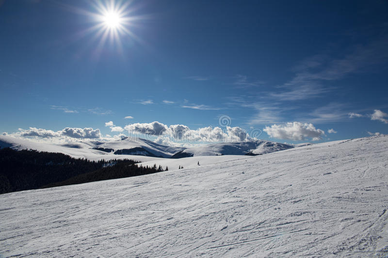 Winter Landscape. Image showing the Carpathian mountains covered in snow on a sunny day royalty free stock photos