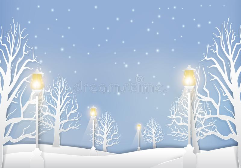 Winter landscape with lamp post and snow paper art style stock illustration