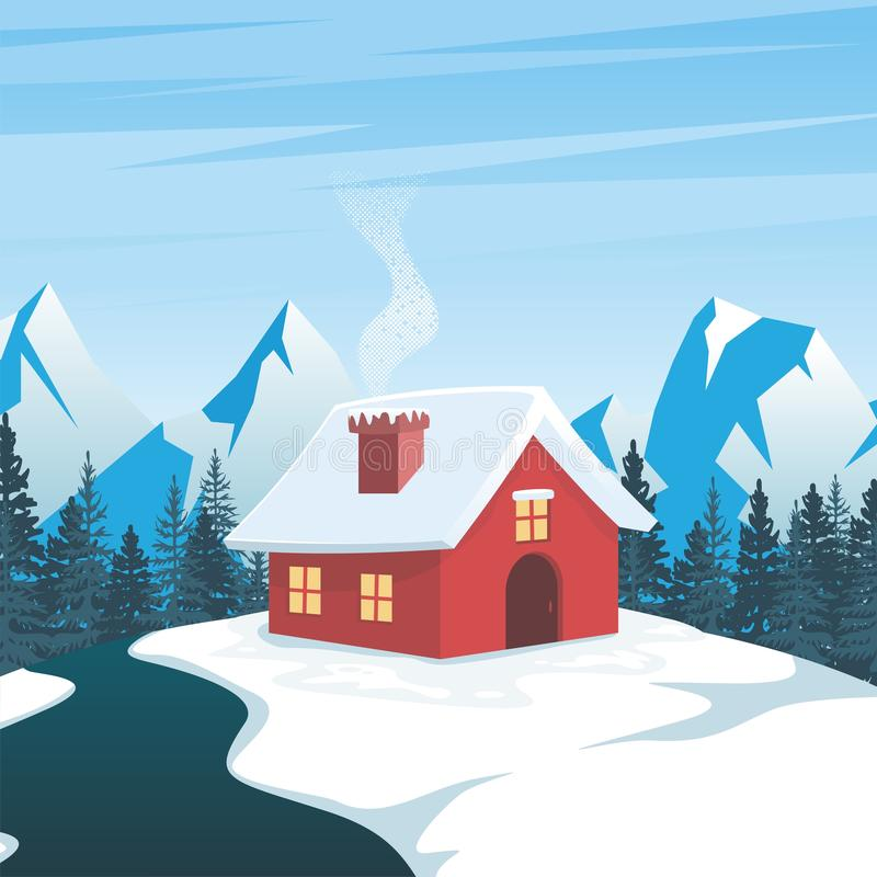 Winter Landscape with lonely home and scenery snowy design stock illustration