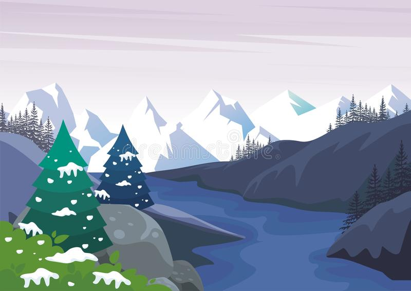 Winter Landscape with Lovely Cartoon design royalty free illustration