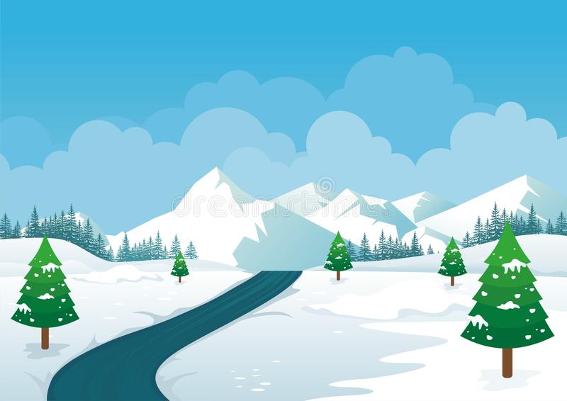 Winter Landscape with Lovely Cartoon design. Snowy hill, pine tree and snowy mountain scenery design, suitable for Banner, Background, Game, flyer, brochure vector illustration