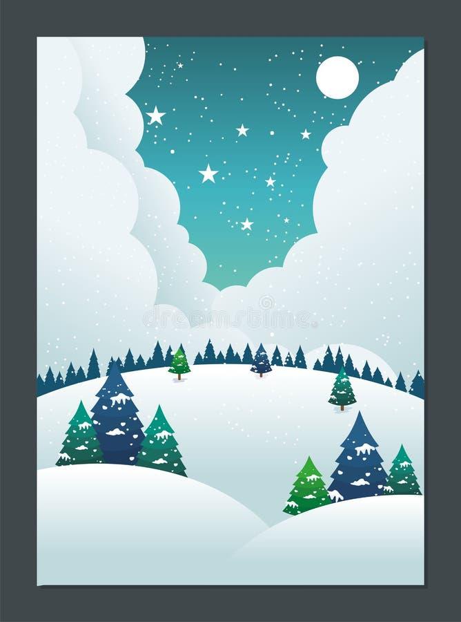 Winter Landscape with Lovely Cartoon design stock illustration