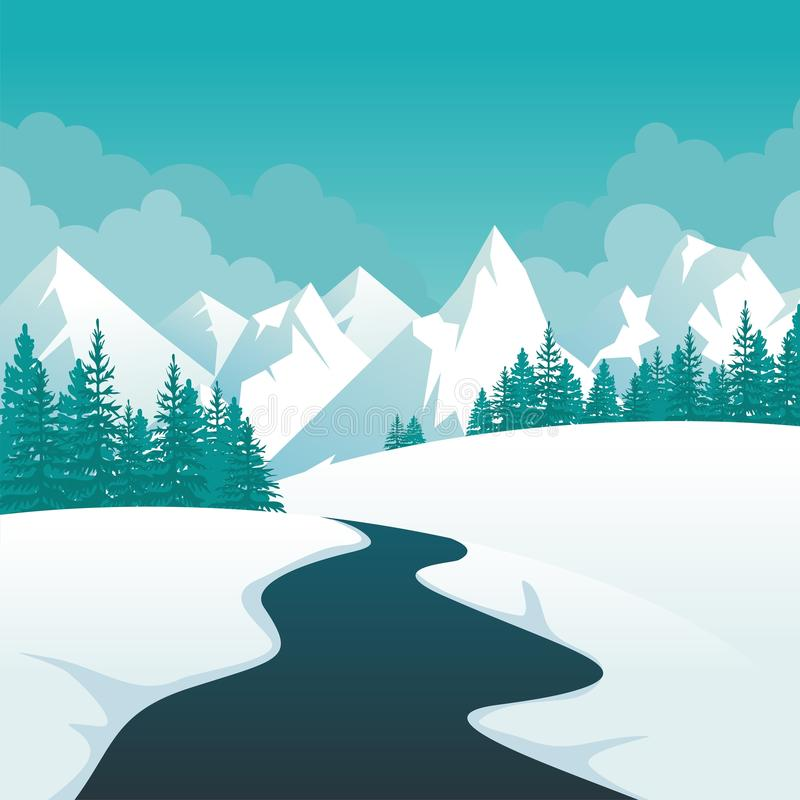 Winter Landscape with lovely scenery cartoon design. Snowy hill and mountain with oak tree, suitable for Banner, Background, flyer, brochure, christmas card stock illustration