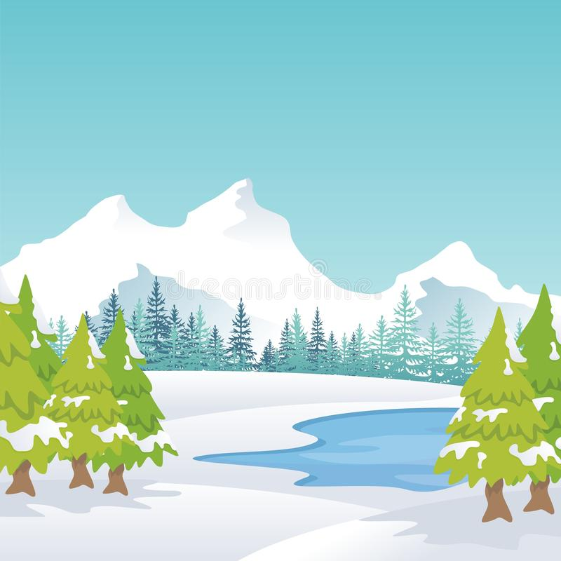 Winter Landscape with lovely scenery cartoon design. Snowy hill and mountain with oak tree, suitable for Banner, Background, flyer, brochure, christmas card royalty free illustration