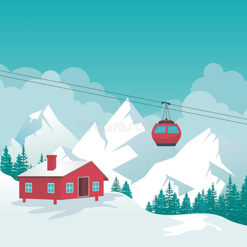 Winter Landscape with lovely scenery cartoon design. Snowy hill and mountain with ski station, Cable-car on rope way and oak tree, suitable for Banner royalty free illustration